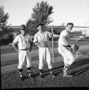 The Miners first games of the weekend on Aug. 13 1969 against Clive followed by Edmonton at Henderson Stadium. From left, Robin Ondrik, Gerry Veres and Corn Burr who were part of the Alberta junior baseball playoff.
