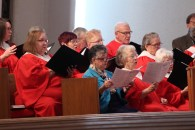 The McKillop United Church choir in Lethbridge singing hymns during Easter worship on March 27, 2016.