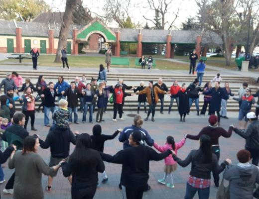 People gathered in Galt Gardens to unite to bring peace to the community Oct. 14.
