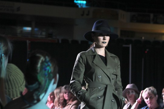 Farren Sawers walks down the runway in JASON'T clothing during Lethbridge Fashion Weekend