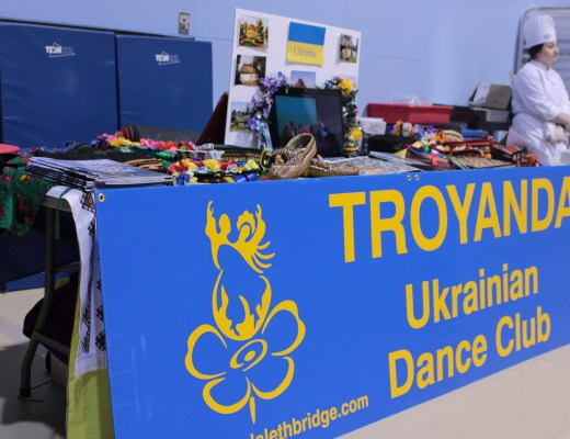 A Ukrainian booth set up to show traditional artifacts at Bridging cultures.
