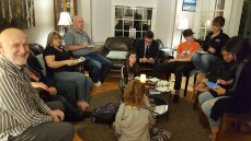 Bill Ginther [left] waits eagerly for the results of the election with his family and friends at his house on Monday.