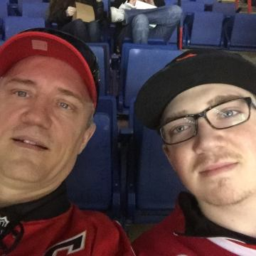 Me and Dad at the Flames game