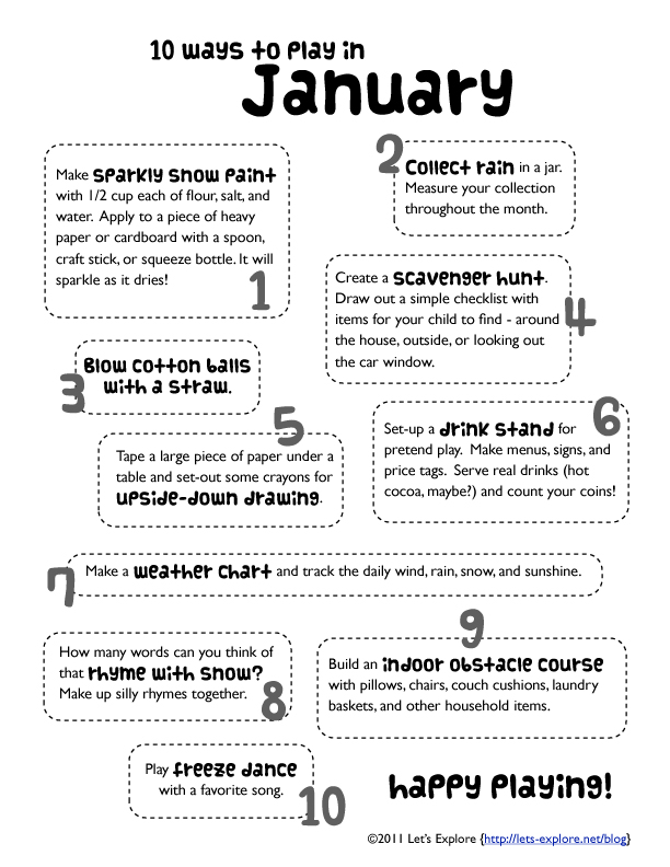 Ways to Play in January - Let\u0027s Explore
