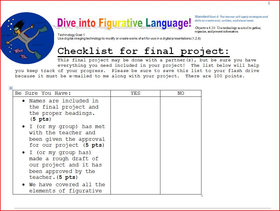 Project Checklist - Let\u0027s Dive Into Figurative Language