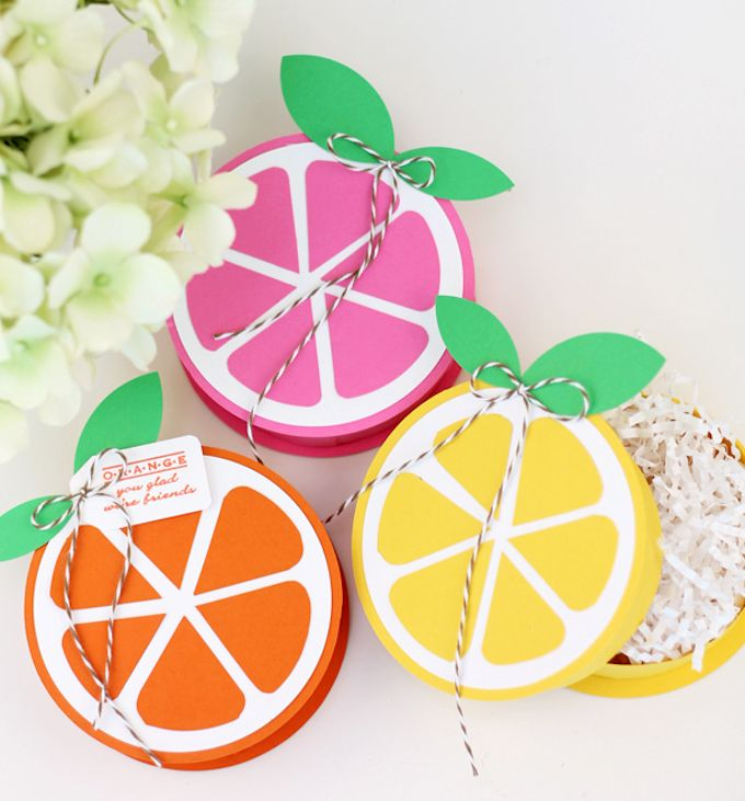 citrus paper gift boxes with lids - lemon orange and pink lemonade