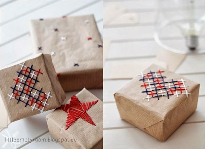 Hand embroidered wrapping paper