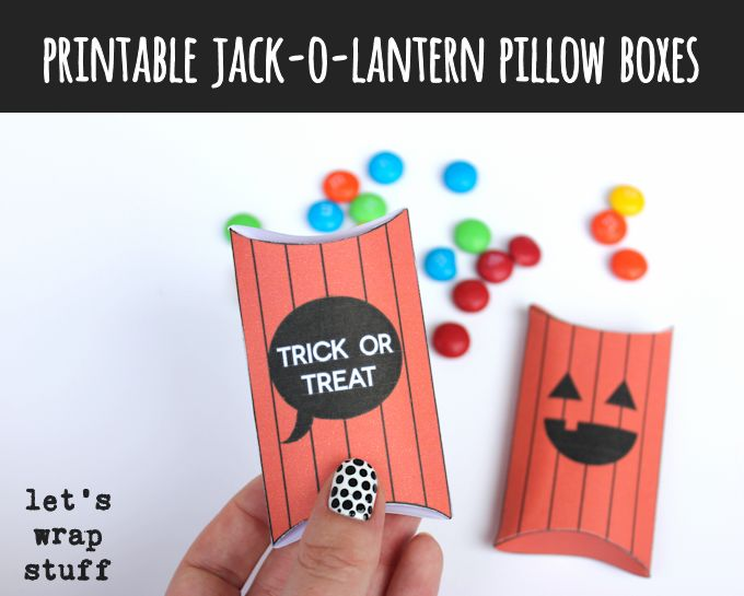 Free Printable Jack-o-Lantern Pillow Boxes