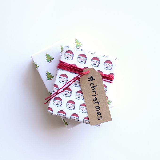 printed emoji wrapping paper, with hashtag gift labels