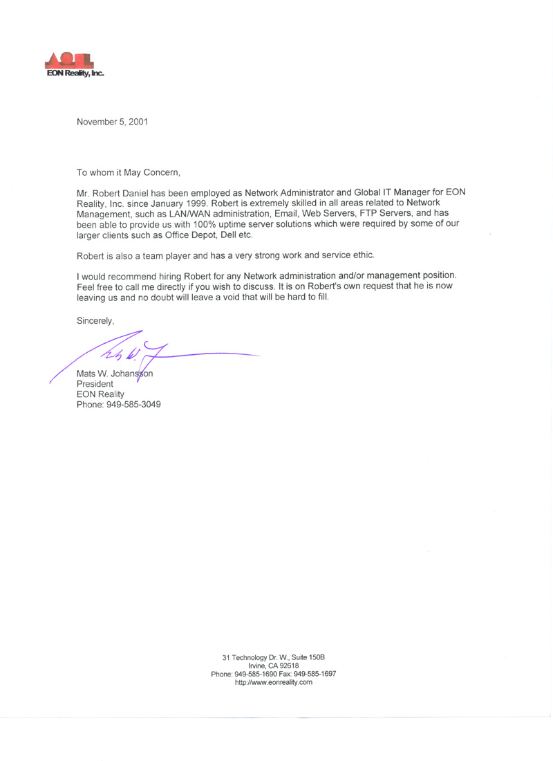 Sample Recommendation Letter For Job Job Recommendation Letter