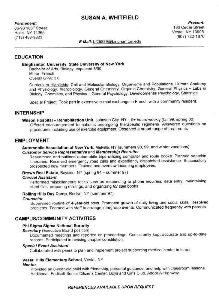 sample resumes for college students ~ Gopitch.co