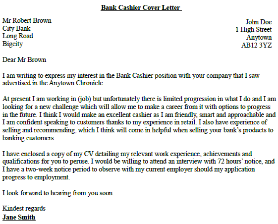 Bank cashier cover letter no experience writefiction581 for Sample of cover letter for banking job
