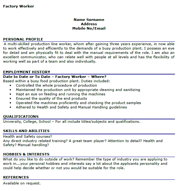 sample cv of waiter - Sample Resume Factory Worker