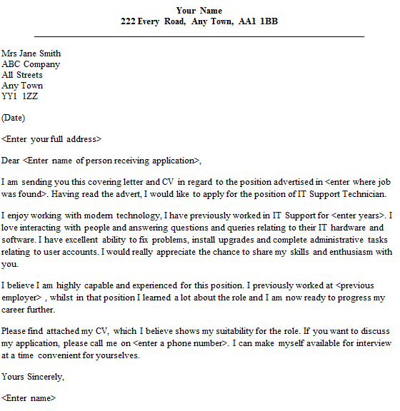 cover letter for it support
