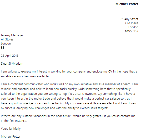 sample of cover letter for unadvertised position