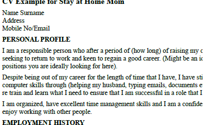 how to write resume after being stay at home mom - Stay At Home Mom Resume