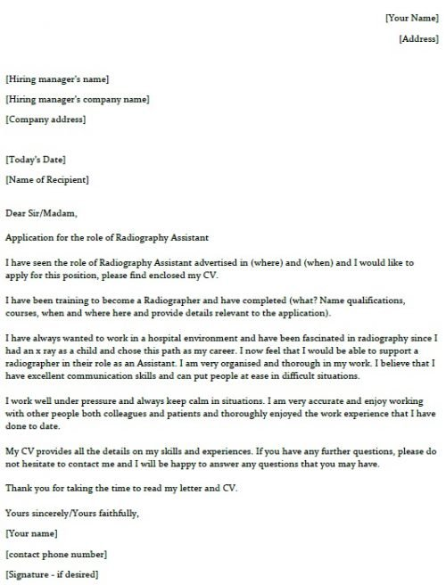 Radiography Assistant Cover Letter Example - lettercv