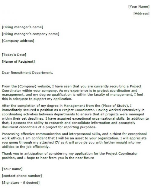 Sample Project Coordinator Cover Letter Image collections - letter