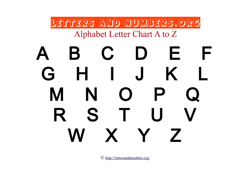 Printable A to Z Bold Letter Charts Letters and Numbers Org - spanish alphabet chart