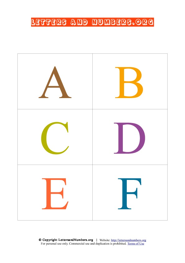Printable Flash Cards in Uppercase Letters and Numbers Org