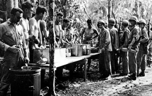 Lining up for chow, Guadalcanal