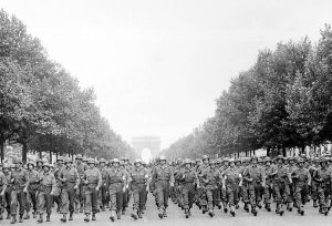 American Troops March Down Champs Elysees