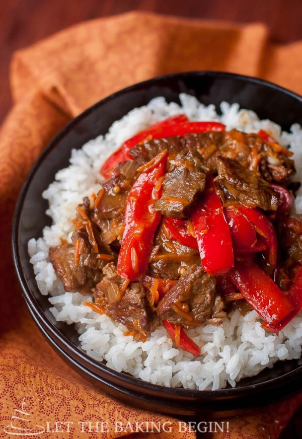 Spicy Beef & Bell Pepper - Tender Beef with a perfect kick of spice and Sweet Peppers  make an awesome combo!  - LetTheBakingBeginBlog.com | @Letthebakingbgn