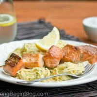 Salmon Fish Kabob & Creamy Dill Spaghetti