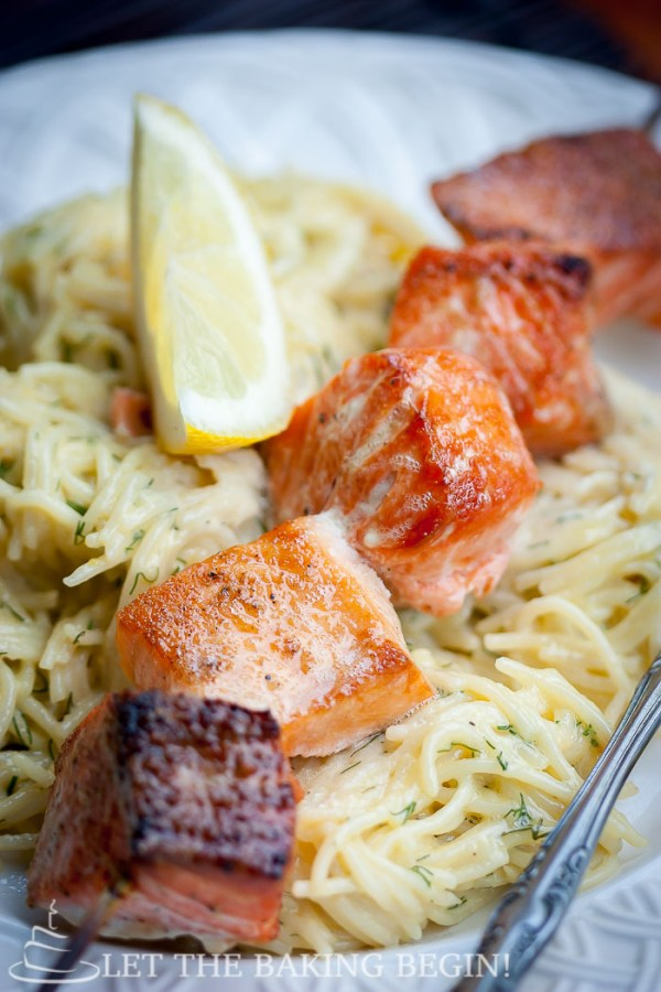 Oven Grilled Salmon Kabob & Creamy Dill Pasta - Juicy salmon kabobs without turning on the grill? Count me in! by LetTheBakingBeginBlog.com   @Letthebakingbgn