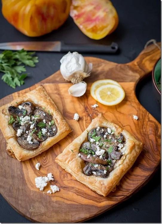 Creamy Mushroom and Goat Cheese Tart {LettheBakingBeginBlog.com}