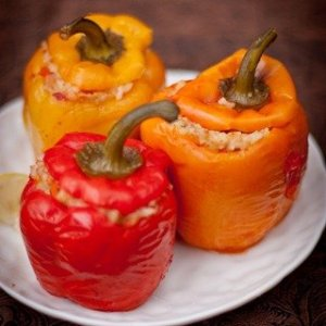 Roasted Bell Peppers w/ Smoky Stuffing