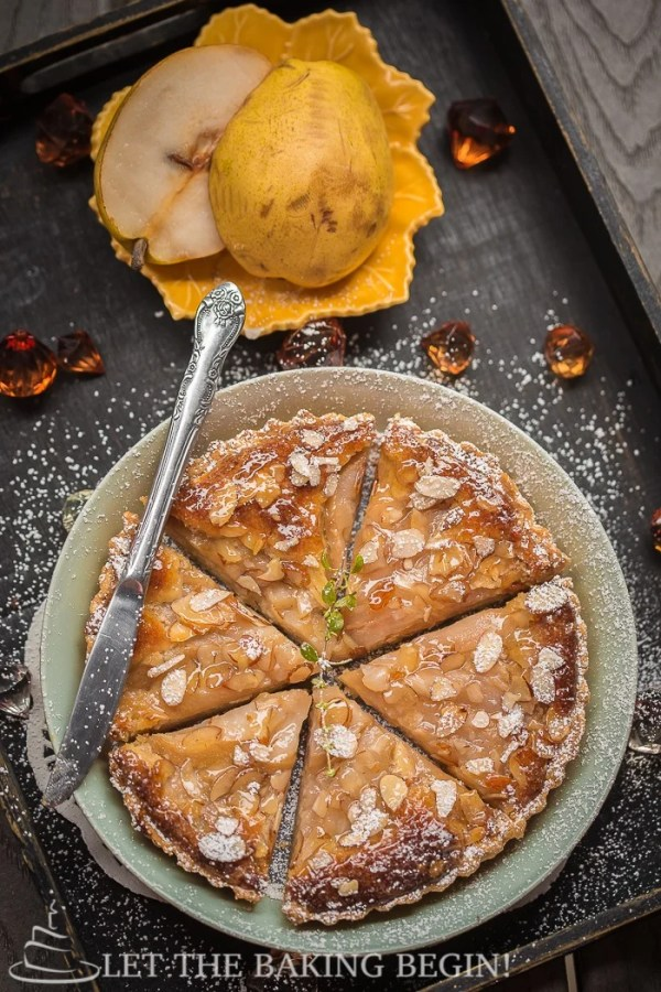 Almond Cream & Pear Tart - flaky puff pastry base with Almond Cream & Amaretto Poached Pears. by Let the Baking Begin!