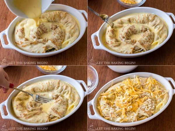 Stuffed Crepe & Egg Breakfast Casserole - cheesy, melty goodness that's perfect as a make-ahead dish to serve for breakfast | LetTheBakingBeginBlog.com | @Letthebakingbgn