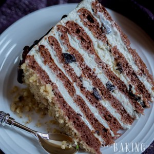 Chocolate Cake with Plums, Walnuts and Sour Cream Frosting