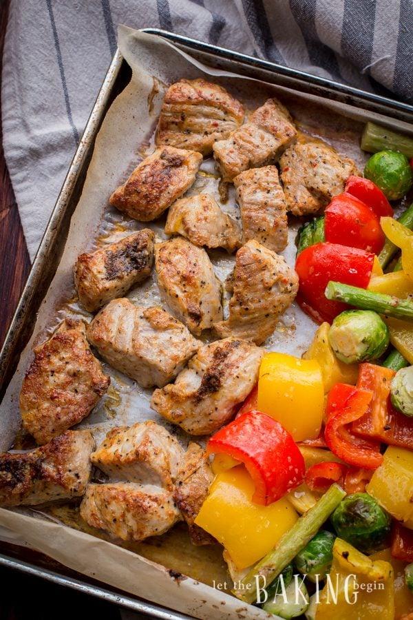 30 minute meal - Kebob Style Pork and Vegetables   Let the Baking Begin!