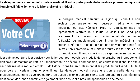 modele cv delegue medical