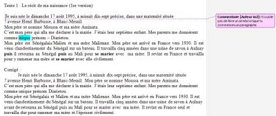 Deux Exemples D Crits Avec Les Annotations Du Professeur Puis Du