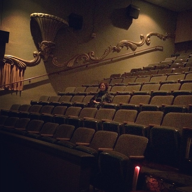 In last few months Sahar and I have been watching a movie almost every week. We go midweeks and i took this photo when we watched Nebraska! We were the only people in the theater. #movienights