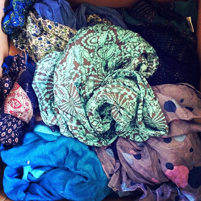 Fifty shades of blue #moving #scarfs #ihatemoving
