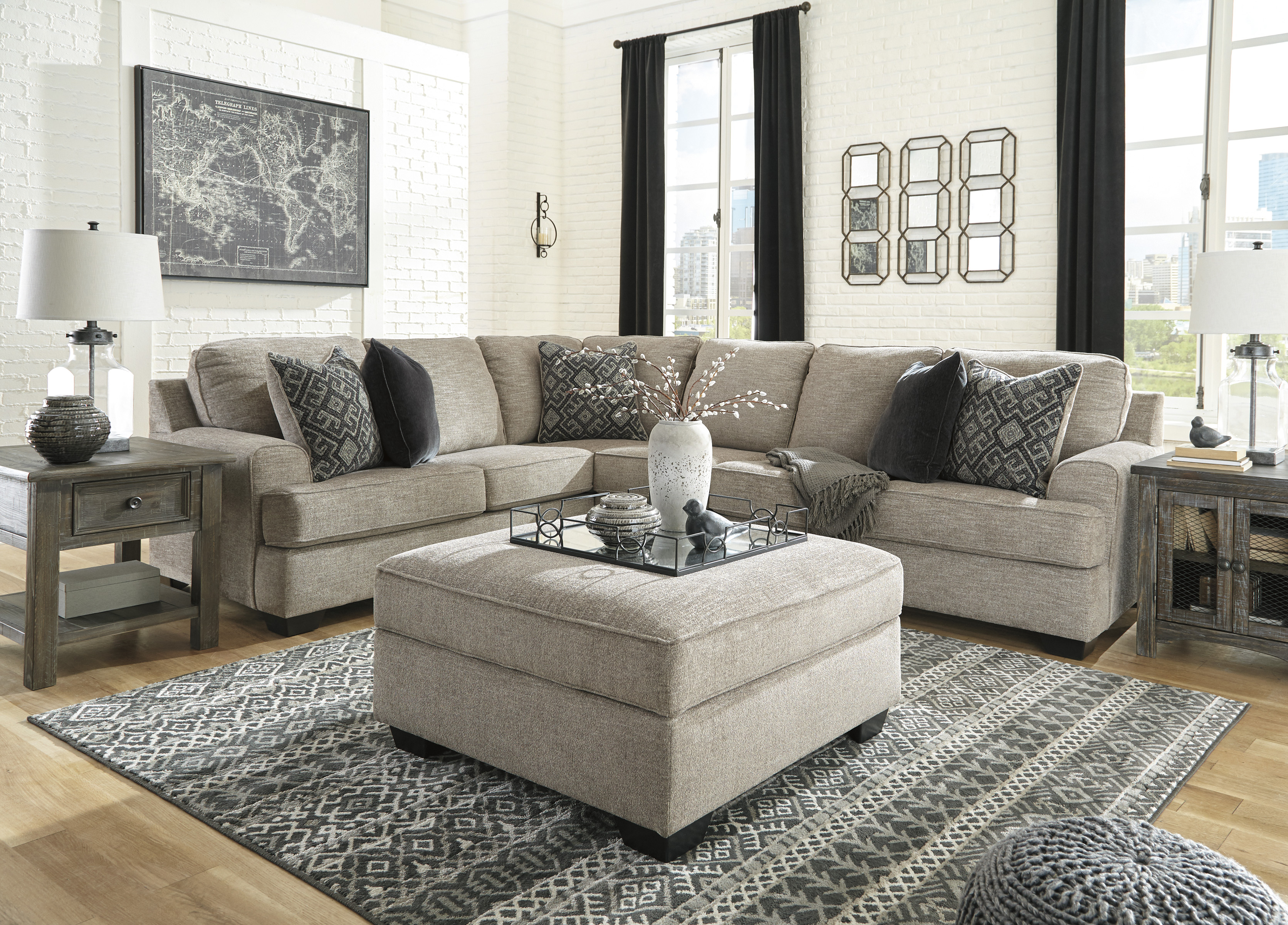 Bovarian Stone 3pc Raf Sofa Sectional Lexington Overstock Warehouse