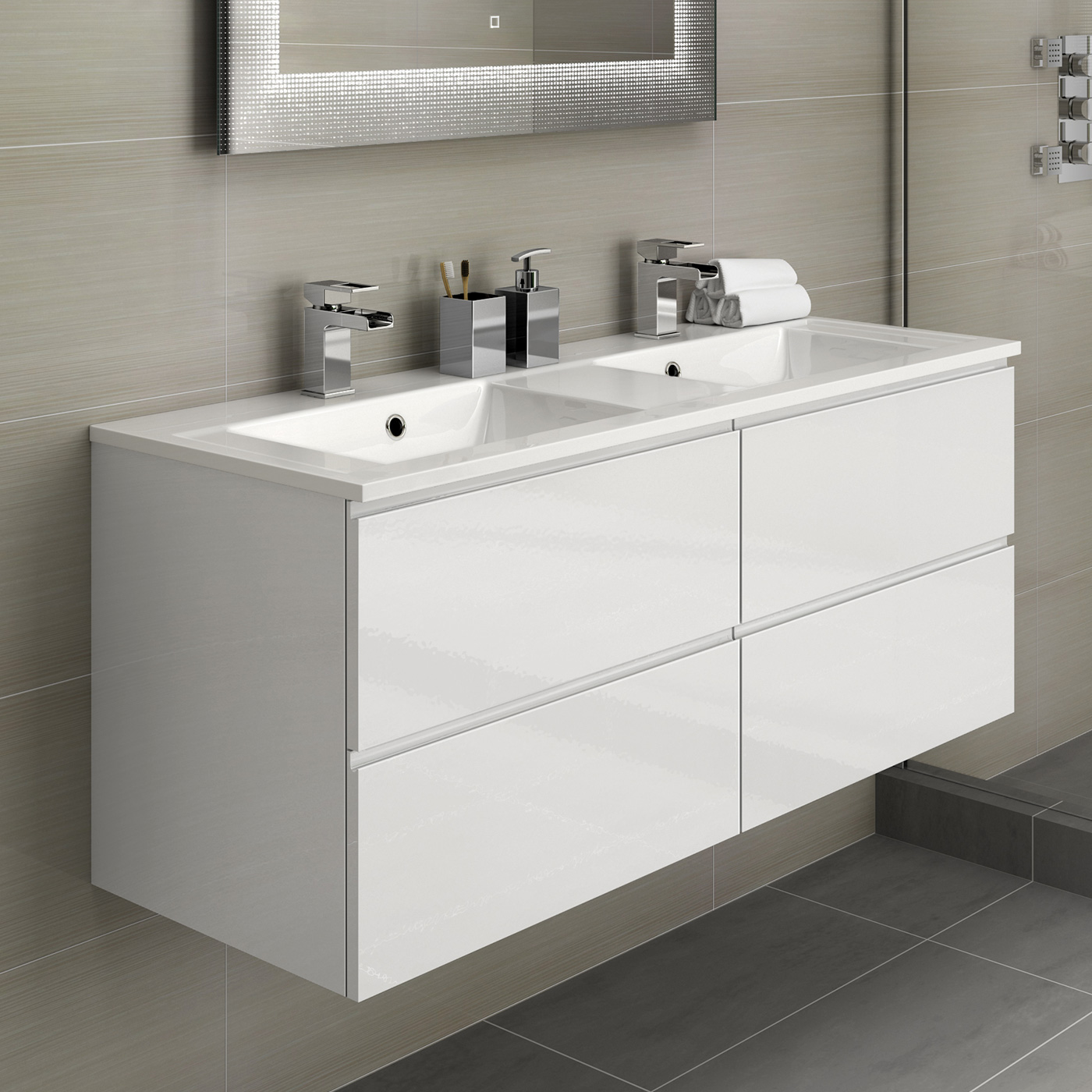 1200mm Vanity Units White Double Basin Bathroom Vanity Unit Sink Storage