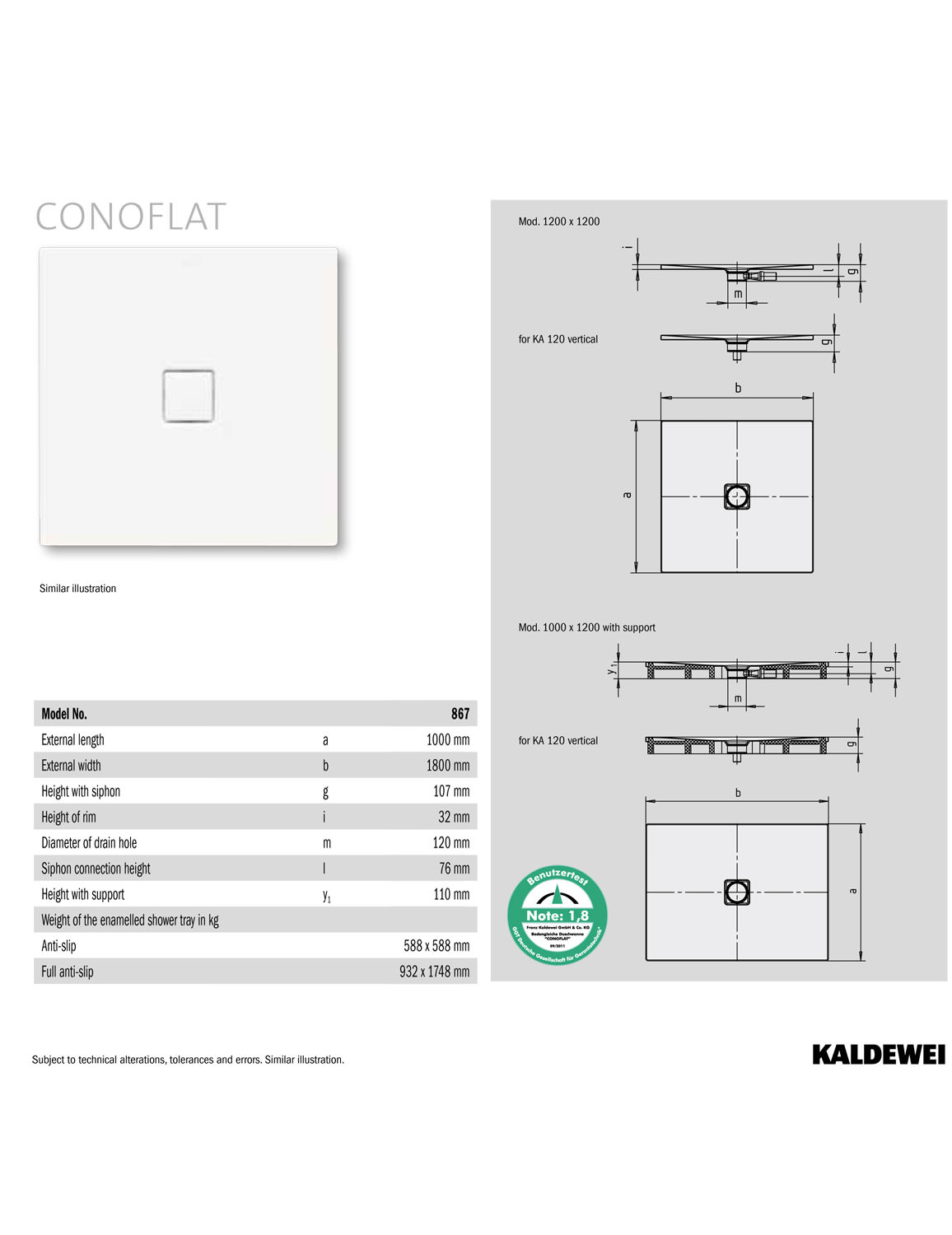 Duschtasse Conoflat Kaldewei Avantgarde Conoflat 1800 X 1000mm Steel Shower Tray