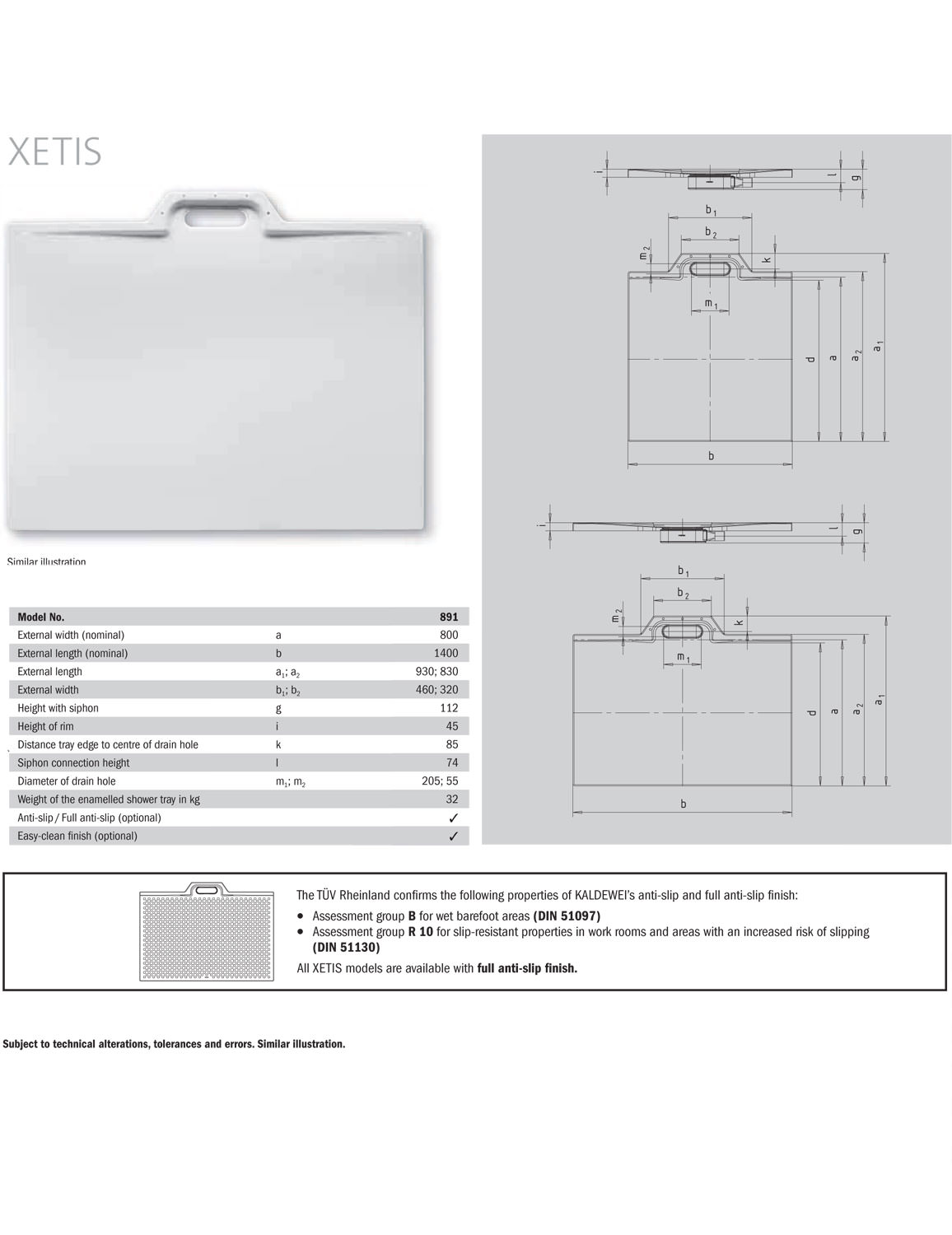 Kaldewei Xetis Kaldewei Avantgarde Xetis 891 Steel Shower Tray 1400 X 800mm