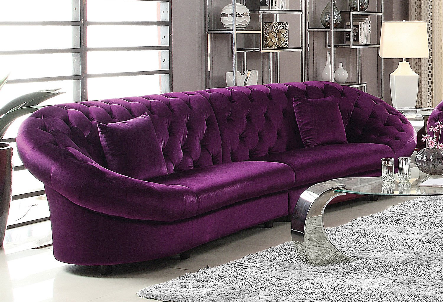 Couch And Sofa Sets Romanus Sectional Sofa (purple) - Sofas - Living Room