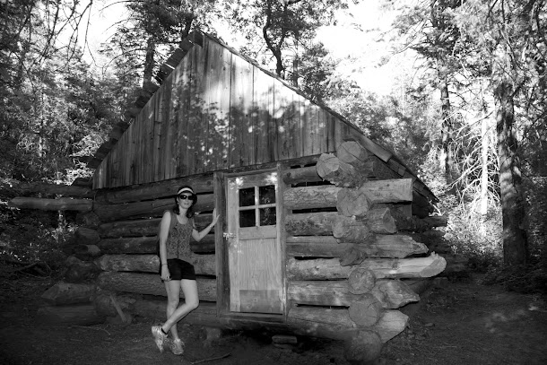 Renee In Front of Historic Cabin