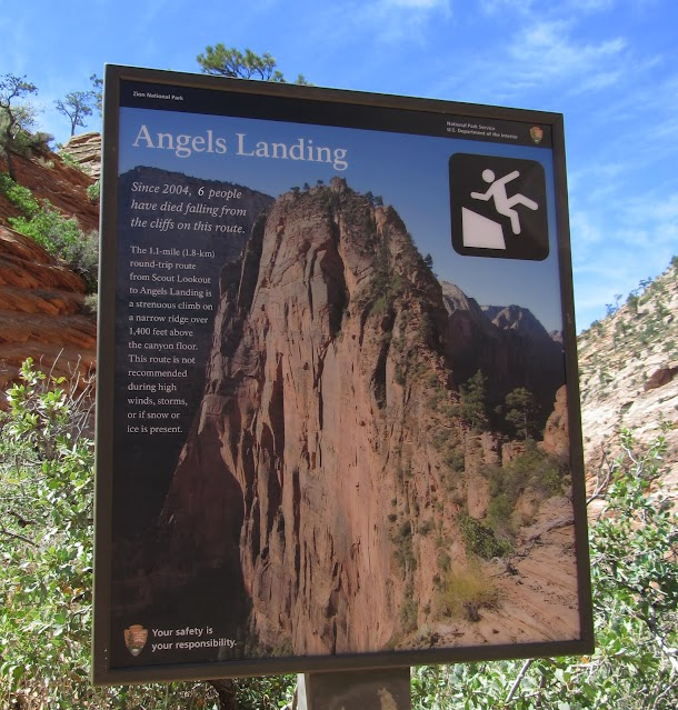 Reach Angels Landing Sign at Scout Lookout - First Stage Completed