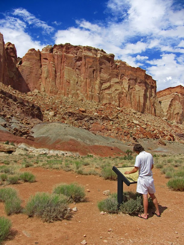 Reading the Oyler Mine Sign - Capitol Reef National Park