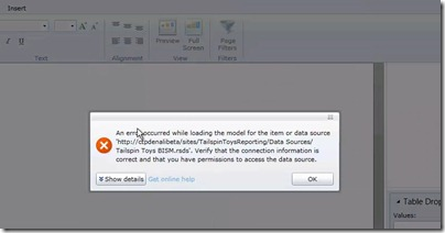2 First time error when opening Project Crescent report