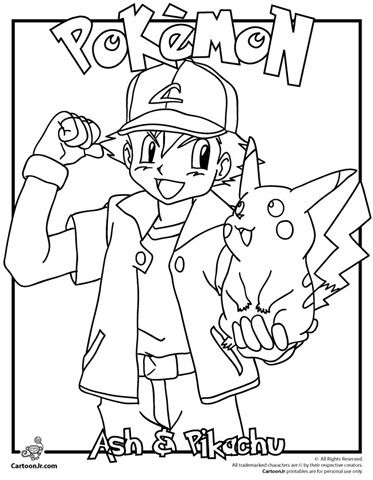 Pokemon Ash Pikachu Coloring Pages Printable wwwpicturesso