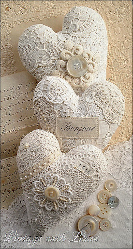 Vintage With Laces Lace Hearts And Other Valentine - Shabby Chic Tischdeko